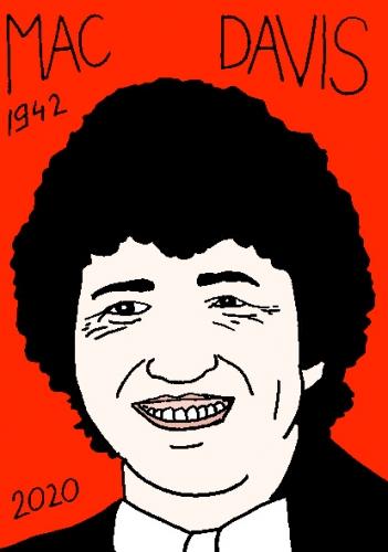 mort de MacDavis, dessin, portrait, laurent jacquy,répertoire des macchabées célèbres,mort d'homme,