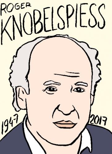 mort de roger knobelspiess, dessin, portrait, laurent jacquy,répertoire des macchabées célèbres,mort d'homme,