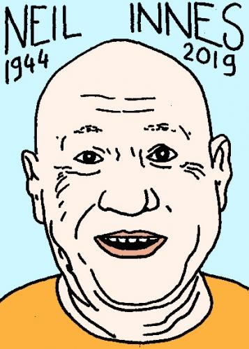 mort de Neil Innes, dessin, portrait, laurent jacquy,répertoire des macchabées célèbres,mort d'homme,
