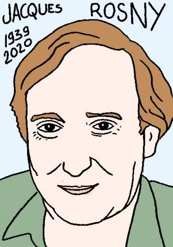 mort de Jacques Rosny, dessin, portrait, laurent jacquy,répertoire des macchabées célèbres,mort d'homme,