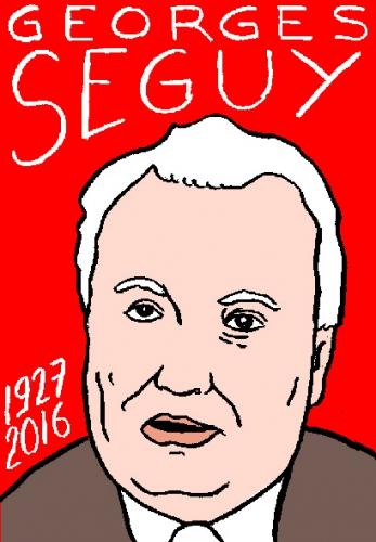 mort de georges séguy, dessin, portrait, laurent jacquy,répertoire des macchabées célèbres,mort d'homme,omage libre de droit