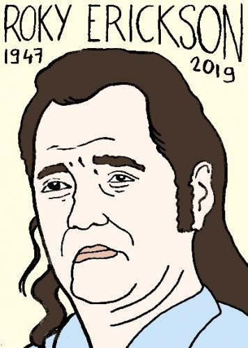 mort de Roky Erickson, dessin, portrait, laurent jacquy,répertoire des macchabées célèbres,mort d'homme,