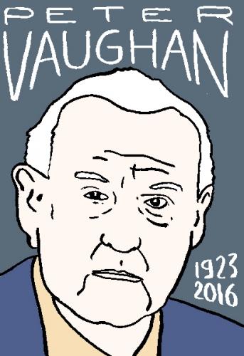 mort de Peter Vaughan, dessin, portrait, laurent jacquy,répertoire des macchabées célèbres,mort d'homme,