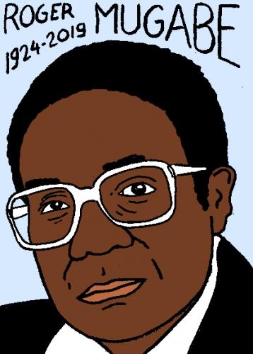 mort de Roger mugabe, dessin, portrait, laurent jacquy,répertoire des macchabées célèbres,mort d'homme,