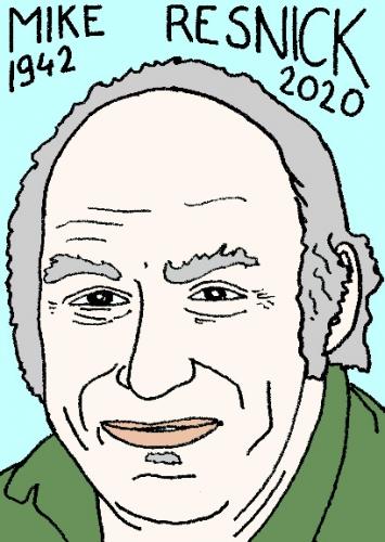 mort de Mike Resnick, dessin, portrait, laurent jacquy,répertoire des macchabées célèbres,mort d'homme,
