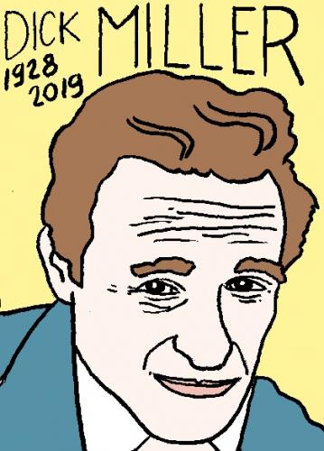 mort de dick Miller, dessin, portrait, laurent jacquy,répertoire des macchabées célèbres,mort d'homme,