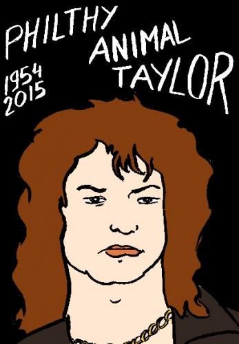 mort de philty animal Taylor, dessin, portrait, laurent jacquy,répertoire des macchabées célèbres,mort d'homme,