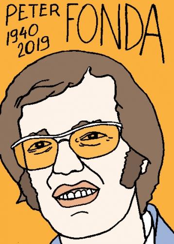 mort de Peter Fonda, dessin, portrait, laurent jacquy,répertoire des macchabées célèbres,mort d'homme,