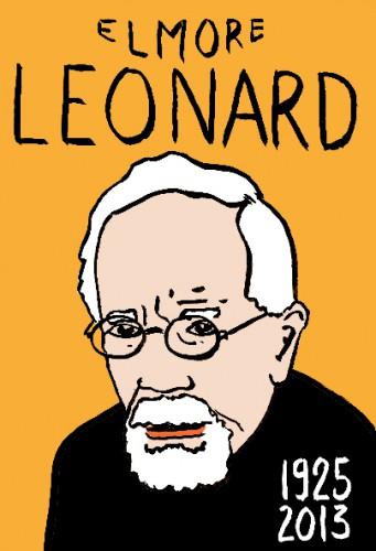 Emore Leonard,ecrivain,scenariste,dessin,portrait,laurent jacquy,art singulier,french outsider,les beaux dimanches,répertoire des macchabées célèbres