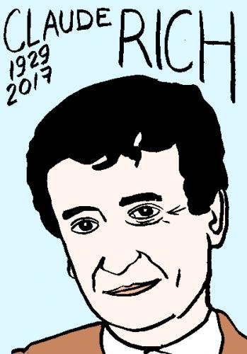 mort de claude rich, dessin, portrait, laurent jacquy,répertoire des macchabées célèbres,mort d'homme,