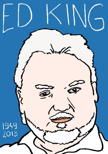 mort d'ed king, dessin, portrait, laurent jacquy,répertoire des macchabées célèbres,mort d'homme,