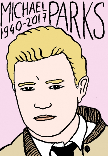 mort de michael Parks, dessin, portrait, laurent jacquy,répertoire des macchabées célèbres,mort d'homme,
