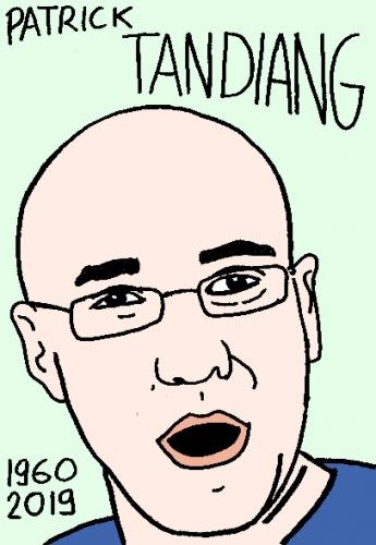 mort de Patrick Tandiang, dessin, portrait, laurent jacquy,répertoire des macchabées célèbres,mort d'homme,