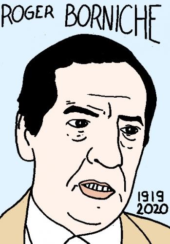 mort de Roger Borniche, dessin, portrait, laurent jacquy,répertoire des macchabées célèbres,mort d'homme,
