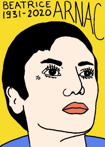 mort de Béatrice Arnac, dessin, portrait, laurent jacquy,répertoire des macchabées célèbres,mort d'homme,