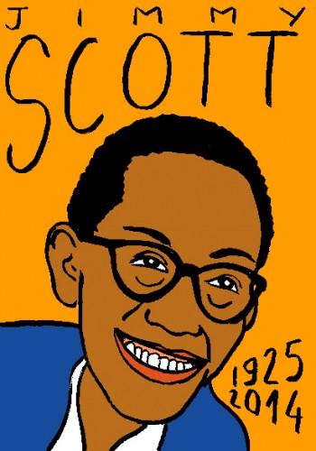 Mort de Jimmy Scott,portrait,dessin,laurent jacquy,répertoire des macchabées célèbres,ar modeste,mort d'homme