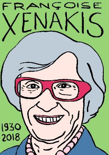 mort de Françoise Xenakis, dessin, portrait, laurent jacquy,répertoire des macchabées célèbres,mort d'homme,
