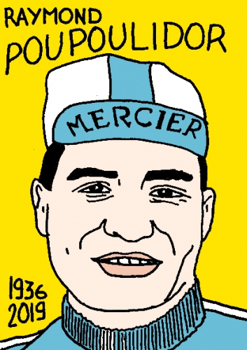 mort de Raymond Poulidor, dessin, portrait, laurent jacquy,répertoire des macchabées célèbres,mort d'homme,