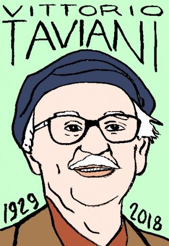 mort de Vittorio Taviani, dessin, portrait, laurent jacquy,répertoire des macchabées célèbres,mort d'homme,