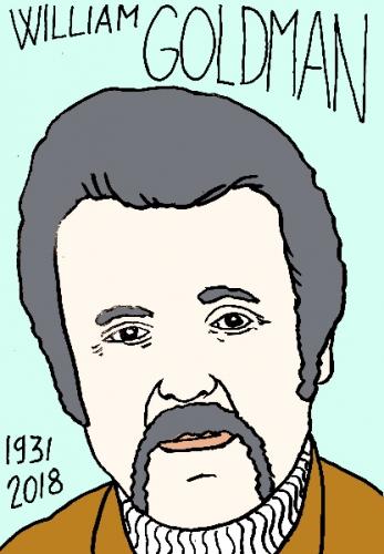 mort de william Goldman, dessin, portrait, laurent jacquy,répertoire des macchabées célèbres,mort d'homme,