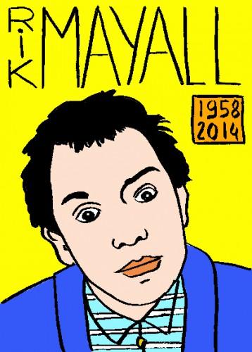 Mort de Rik Mayall,portrait,dessin,répertoire des macchabées célèbres,mort d'homme,