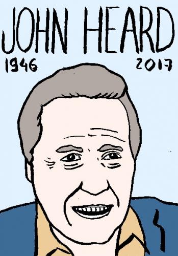 mort de john Heard, dessin, portrait, laurent jacquy,répertoire des macchabées célèbres,mort d'homme,
