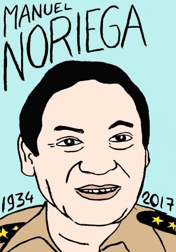 mort de manuel noriega, dessin, portrait, laurent jacquy,répertoire des macchabées célèbres,mort d'homme,