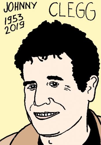 mort de Johnny Clegg, dessin, portrait, laurent jacquy,répertoire des macchabées célèbres,mort d'homme,