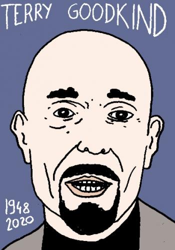 mort de Terry Goodkind, dessin, portrait, laurent jacquy,répertoire des macchabées célèbres,mort d'homme,