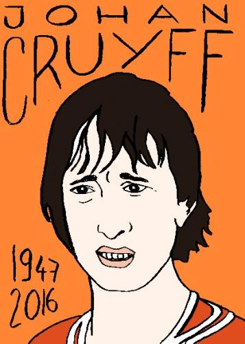 mort de yohan cruyff, dessin, portrait, laurent jacquy,répertoire des macchabées célèbres,mort d'homme,