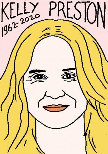mort de Kelly Preston, dessin, portrait, laurent jacquy,répertoire des macchabées célèbres,mort d'homme,