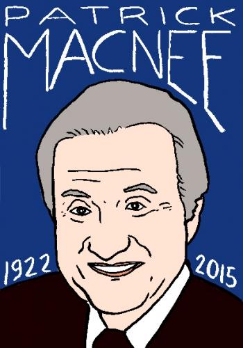 mort de patrick macnee, dessin, portrait, laurent jacquy,répertoire des macchabbées célèbres, visage,mort d'homme