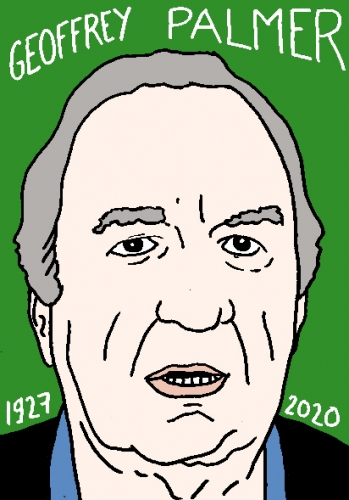 mort de Geoffrey Palmer, dessin, portrait, laurent jacquy,répertoire des macchabées célèbres,mort d'homme,