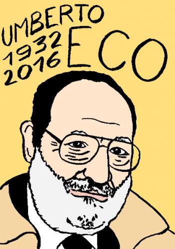 mort de umberto eco, dessin, portrait, laurent jacquy,répertoire des macchabées célèbres,mort d'homme,