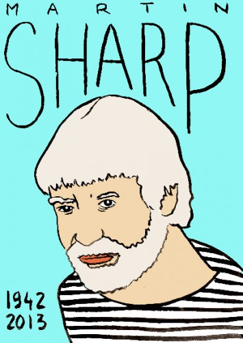 mort de martin sharp,dessin,portrait,laurent jacquy,mort d'homme,répertoire des macchabées célèbres,art modeste,illustrateur