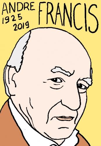 mort d'andré Francis, dessin, portrait, laurent jacquy,répertoire des macchabées célèbres,mort d'homme,
