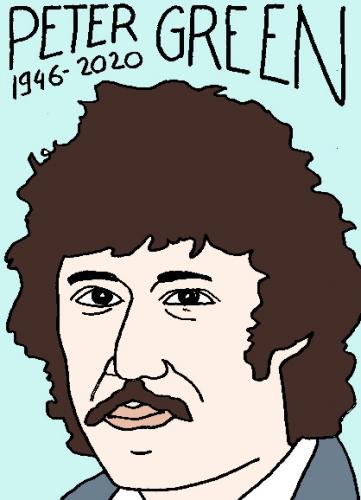 mort de Peter Green, dessin, portrait, laurent jacquy,répertoire des macchabées célèbres,mort d'homme,