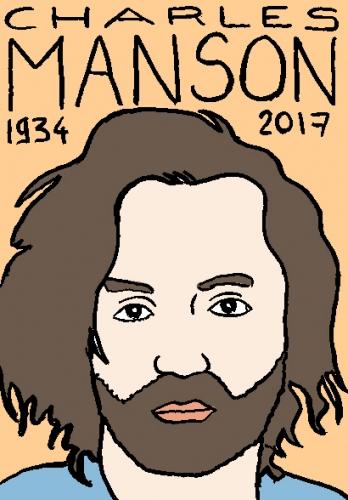 mort de charles manson, dessin, portrait, laurent jacquy,répertoire des macchabées célèbres,mort d'homme,