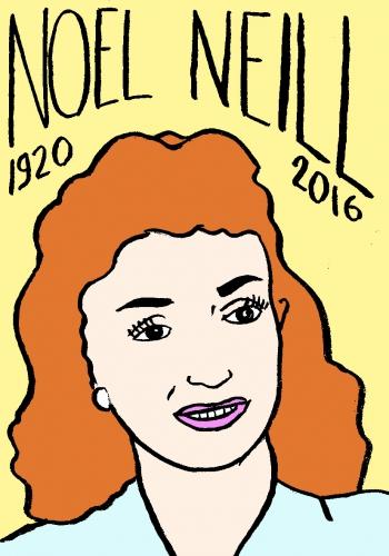 mort de noel neill, dessin, portrait, laurent jacquy,répertoire des macchabées célèbres,mort d'homme,