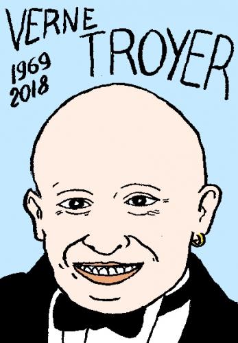 mort de verne troyer, dessin, portrait, laurent jacquy,répertoire des macchabées célèbres,mort d'homme,