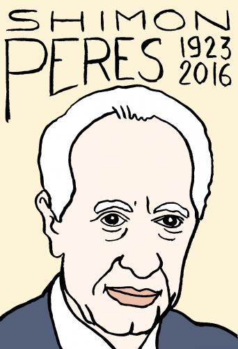 mort de shimon Peres, dessin, portrait, laurent jacquy,répertoire des macchabées célèbres,mort d'homme,