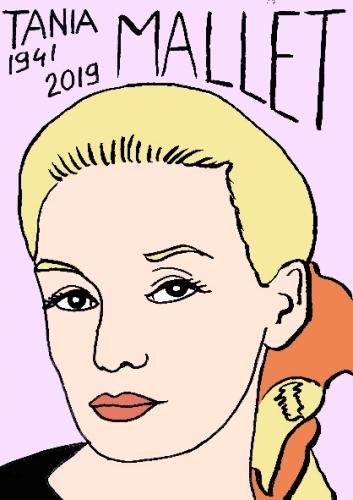 mort de Tania Mallet, dessin, portrait, laurent jacquy,répertoire des macchabées célèbres,mort d'homme,