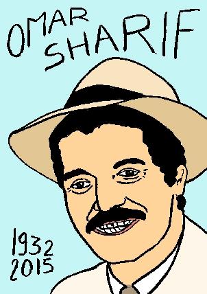 mort d'omar sharif, dessin, portrait, laurent jacquy,répertoire des macchabbées célèbres, visage,mort d'homme