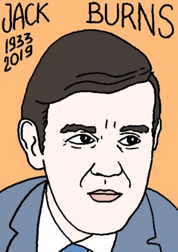 mort de Jack Burns, dessin, portrait, laurent jacquy,répertoire des macchabées célèbres,mort d'homme,