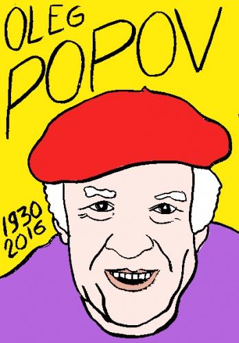 mort d'oleg Popov, dessin, portrait, laurent jacquy,répertoire des macchabées célèbres,mort d'homme,