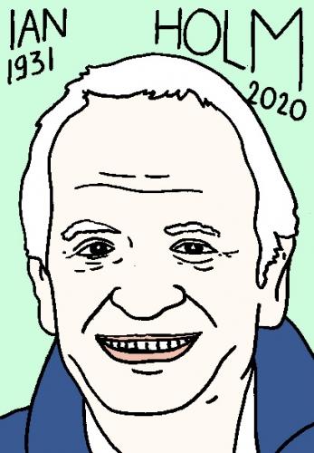 mort de Ian Holm, dessin, portrait, laurent jacquy,répertoire des macchabées célèbres,mort d'homme,