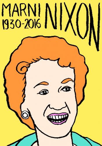 mort de marni Nixon, dessin, portrait, laurent jacquy,répertoire des macchabées célèbres,mort d'homme,