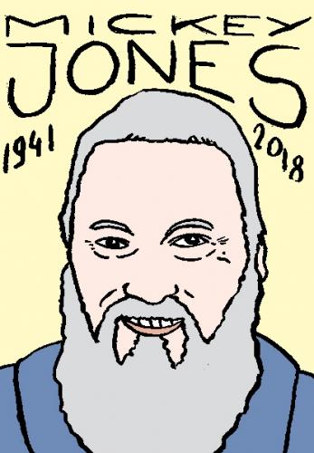 mort de mickey jones, dessin, portrait, laurent jacquy,répertoire des macchabées célèbres,mort d'homme,