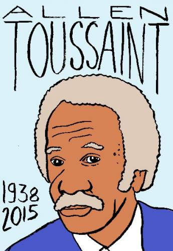 mort d'allen toussaint, dessin, portrait, laurent jacquy,répertoire des macchabées célèbres,mort d'homme,