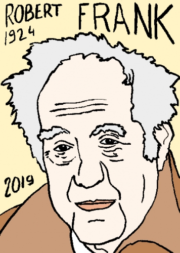 mort de Robert Frank, dessin, portrait, laurent jacquy,répertoire des macchabées célèbres,mort d'homme,